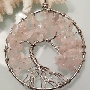 NWT-Tree of Life Rose Quartz Gemstone Pendant